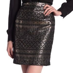 NWT Catherine Malandrino gold metallic skirt sz 8
